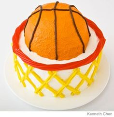 Basketball with Hoop Birthday Cake Design   How to make a basketball with hoop birthday cake with Twizzlers. Easy, step-by-step recipe, diagrams and pictures