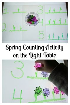 Light table counting activity for toddler and preschoolers that is perfect for spring!