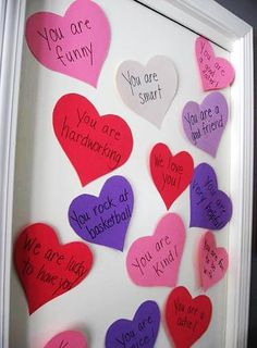 Give your child a heart attack! Cover their door with hearts of affirmation #ValentinesDayIdeas #yearofcelebration www.skiptomylou.org