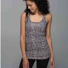 12/28 HP Lululemon Cool Racerback A lightweight Luon Racerback tank top in Ace Spot Grain Black that is perfect for layering. Sold out style, brand new with tags! *Can take one price drop for discounted shipping* lululemon athletica Tops