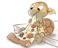 Ninja turtle's pizza :P Baby Ninja Turtle, Ninja Turtles Art, Cute Turtles, Baby Turtles, Teenage Mutant Ninja Turtles, Cute Disney Drawings, Art Drawings For Kids, Cartoon Drawings, Animal Drawings
