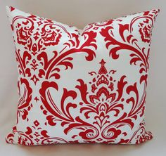 Red & White Damask Decorative Pillow Cover Throw by HomeLiving