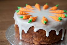 cutely decorated carrot cake