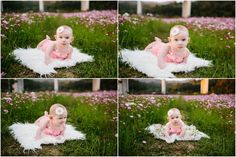 Okinawa Baby Photographer laying on fur in flowers