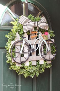 This adorable boxwood and bicycle spring wreath is super cute for decorating you. This adorable boxwood and bicycle spring wreath is super cute for decorating your front door this spring! It's officially spring today, which means it. Diy Spring Wreath, Spring Crafts, Spring Wreaths For Front Door Diy, Wreath Crafts, Diy Wreath, Wreath Ideas, White Wreath, Fun Crafts, Tulle Wreath