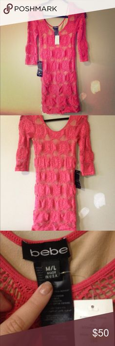 Brand New Bebe Coral Lace Dress Beautiful bodycon type dress that compliments any figure. New with tags. Size M/L bebe Dresses Midi