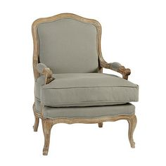 Designed in the timeless Louis XV style, this classic French bergere chair looks fresh for today dressed in double piped, flaxen cotton.