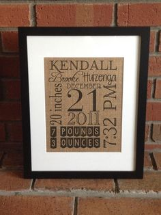 Customized Birth Announcement Burlap Print by erinelysedesigns on Etsy https://www.etsy.com/listing/168024402/customized-birth-announcement-burlap