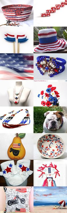 #Etsy #treasury #Red #white and #blue #patriotic #bowl #basket #beads #fibernique #Wexford #treasures #stars and #stripes