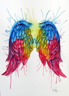 Happy National Coming Out Day, Ya'll Angel Wings Drawing, Angel Wings Art, Angel Art, Heart Wings, Wings Wallpaper, Rainbow Tattoos, Graffiti Wall, Rainbow Art, Mural Art