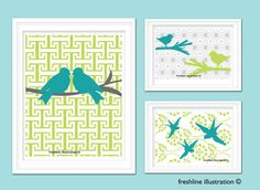Changing the colors, but love this!    Bird Art Prints Birds on Greek Key Pattern Sparrows by Freshline