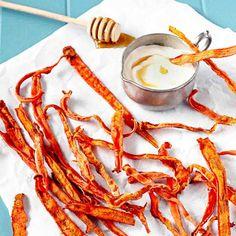 Cinnamon Carrot Chips with Honey Yogurt Dip