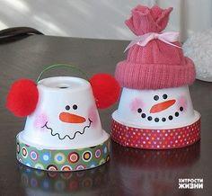 Painted flower pot snowmen