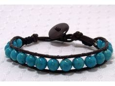 Brown Leather Cord Braclet with Blue Stones.