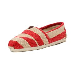 2014 New Arrival Toms Shoes Red-White big stripe