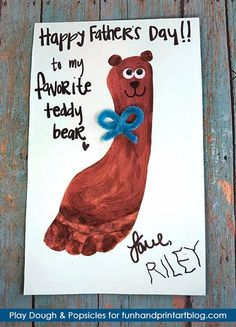 'Happy Father's Day to my Favorite Teddy Bear!' Footprint Card Craft