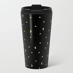 Gold Moons and Stars Metal Travel Mug #night #black #gold #luxurious #moon #strary #stars #faerieshop #magic #mysterious #hipster #witchy #cool #halloween #occult #space #abstract #simple #magical #gothic #minimalism #vector #seamless #repeat #sale #accessories #society6 #s6 #drinkware