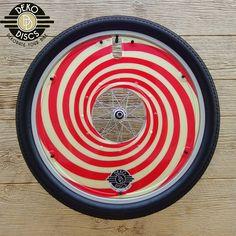 Cream and Red Spiral Deko Disc