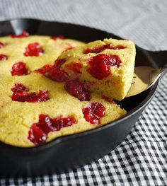 Cranberry Skillet Cornbread _ For the Thanksgiving table or a perfect use for all that leftover cranberry sauce!