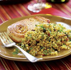 Israeli Couscous with Saffron, Toasted Pine Nuts & Currants--served this beside a rotisserie chicken (home-made) -- delicious!