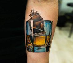 Ship in drink tattoo by Denis Sivak