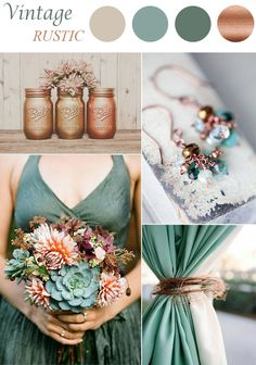 sage and brown vintage wedding color schemes