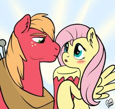 Big Macintosh don't want Fluttershy to look down so much! My boyfriend does this on me sometimes when I look down, I'm a shy girl. I decided to draw the. Dun' look down. Big Macintosh, Mlp Characters, Mlp Fan Art, Shy Girls, My Little Pony Friendship, Fluttershy, Interesting Faces, Romantic Couples, Cool Art