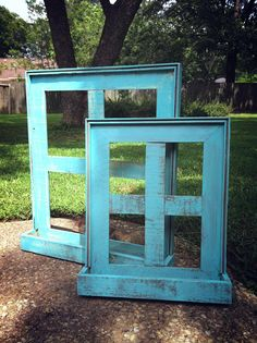 Charming Rustic Turquoise Window panes