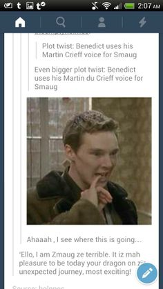 OH MY GOSH YES. This would be the best thing ever. Those of you who are lost because you don't know who Martin Crieff / Martin du Crieff is, LOOK IT UP. Most hilarious Smaug ever. Louise Brealey, Cabin Pressure, Rupert Graves, Funny Feeling, Dog Sounds, Benedict And Martin, 12 Years A Slave, Tv Show Music, Plot Twist