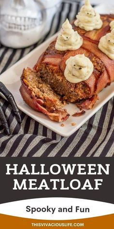 Bacon wrapped meatloaf combines two great proteins in one delicious bite. The addition of mashed potato ghosts makes for a very festive meal! A delicious take on the classic meatloaf dish. This bacon wrapped meatloaf is moist, easy to make and so much better than regular meatloaf! Plus, it's ready in under 1 hour for the perfect main dish for your Halloween party or just a fun, spooky, weeknight dinner the kids are sure to love. #BaconWrappedMeatLoaf #HalloweenThemedDinner #ThisVivaciousLife Gluten Free Recipes For Dinner, Allergy Free Recipes, Fall Recipes, Dinner Recipes, Bacon Wrapped Meatloaf, Halloween Party, Spooky Halloween, Halloween Crafts, Happy Halloween