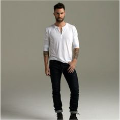 Adam Levine in a thermal...standard hot guy clothing