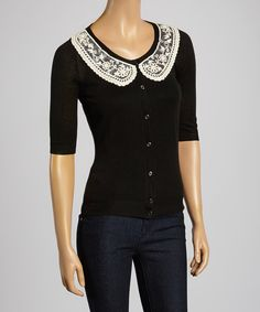 Look at this Black & White Lace Collar Button-Up - Women on #zulily today!