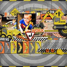 Layout: Boys at Work Kids Scrapbook, Scrapbook Page Layouts, Scrapbook Pages, Scrapbooking Ideas, Construction Birthday Parties, Layout Inspiration, Altered Art, New Baby Products, Boys