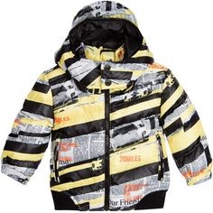 Baby boys grey and yellow down packet coat by John Galliano. Warm and lightweight, this cosy coat is padded with real down and feathers. It has a removable hood with a peak and a storm force flap. The hood can be unzipped and worn without, if preferred. There fabric is printed with the designer's signature Gazette print and has two zipped hand pockets and a ribbed, elasticated hem.