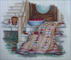 """""""October ~ Quilts for All Seasons"""" a cross stitch pattern by Paula Vaughan."""
