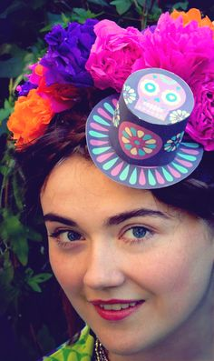 paper craft floral day of the dead headband - so cute! Figure out how to make one that will last.