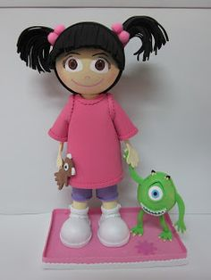 Fofucha Boo y Mike Wazowski. Monsters Inc. Clay Dolls, Felt Dolls, Monsters Ink, Doll Face Paint, Clothespin Dolls, Fondant Figures, Monster Party, Foam Crafts, Sugar Art