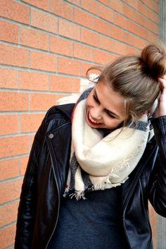leather jacket, blanket scarf | fishbowl fashion