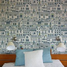 Love this - possible downstairs loo paper?Coastal cottages wallpaper by Jessica Hogarth Designs