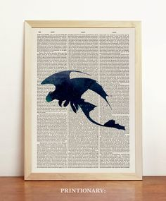 Toothless How To Train Your Dragon Watercolor Action Fantasy Film Blue Animated Cowell Dreamworks Upcycled Dictionary Book A4 8.3 x 11.7 in door Printionary op Etsy https://www.etsy.com/nl/listing/233321275/toothless-how-to-train-your-dragon