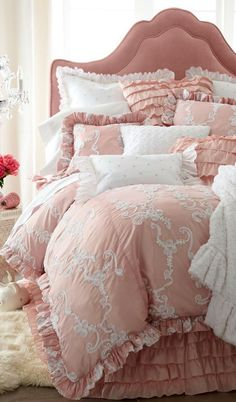 Shop luxury bedding sets and bedding collections at Horchow. Browse our incredible selection of full, queen, and king size luxury bedding sets. Bedroom Bed, Dream Bedroom, Bedroom Decor, Blush Bedroom, Feminine Bedroom, Teen Bedroom, Pink Bedrooms, Shabby Chic Bedrooms, Bed Sets