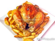Pui intreg la cuptor cu cartofi No Cook Meals, Carne, Turkey, Meat, Cooking, Recipes, Food, Drinks, Kitchen