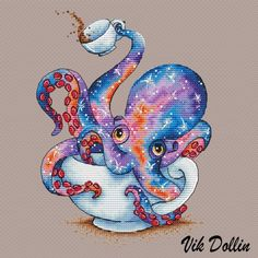 "Cross stitch design ""The Tea octopus"""