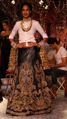 Lisa Haydon in a Leather lengha by Monisha Jaising at India Couture Week