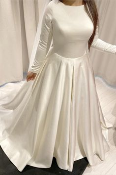 Modest Long Sleeves Satin Wedding Dress Ball Gown for bride,perfect for your winter wedding,formal wedding,vintage style weddings or any other formal wedding occasions ! Wedding Dresses Near Me, Princess Wedding Dresses, Colored Wedding Dresses, Elegant Wedding Dress, Wedding Dress Styles, Formal Wedding, Backless Wedding, Dress Wedding, Wedding Ideas