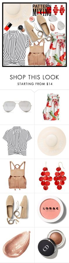"""#150 Pattern Mixing (Contest Entry)"" by redpepperstyle ❤ liked on Polyvore featuring Sunny Rebel, Calypso St. Barth, T By Alexander Wang, Eugenia Kim, Urban Originals, Gap, LORAC and Jouer"