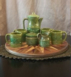 Royal Sealy olive green lime green tea set by ThisThatAndTheGoods