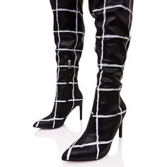 Grid Print Thigh High Boots ($34) ❤ liked on Polyvore featuring shoes, boots, over the knee slouch boots, black pointed toe boots, thigh-high boots, black over-the-knee boots and black slouch boots