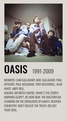 Oasis Album, Alan White, Definitely Maybe, Oasis Band, Look Back In Anger, Rock Y Metal, Minimalist Music, Rock Band Posters, Polaroid Wall
