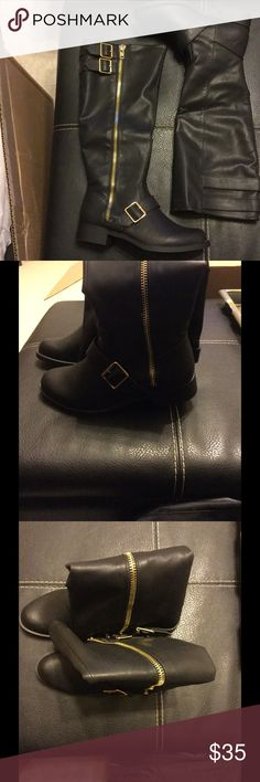 New mid calf black boots size 7 Black vegan leather mid calf boots with gold hardware Shoes Combat & Moto Boots